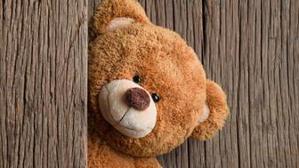 Cute teddy bears with old wood background