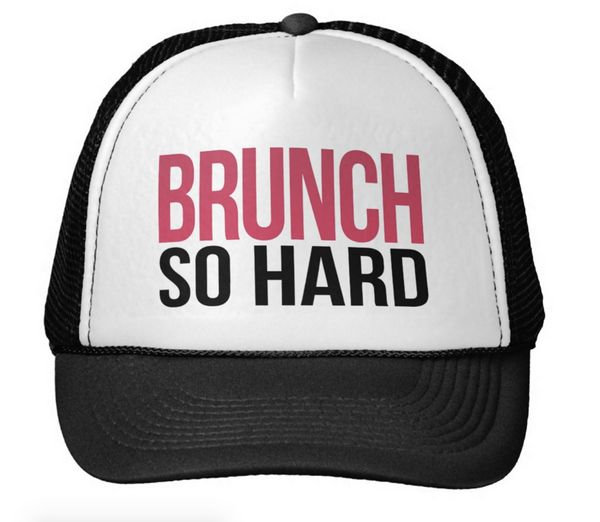 "Brunch So Hard Magenta & Black Trucker Hat, $15.90 at <a href=""http://www.zazzle.com/brunch_so_hard_magenta_black_trucker"