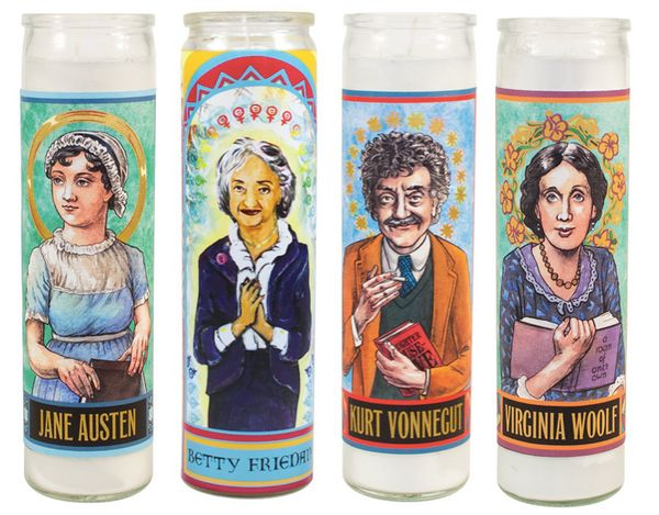 "Get the <a href=""http://www.philosophersguild.com/candles/"">Secular Saints Writers candles</a>."