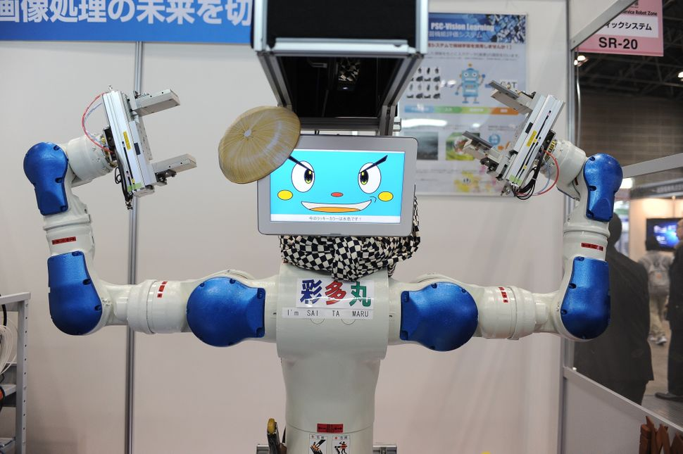 An industrial robot featured at the exhibition.