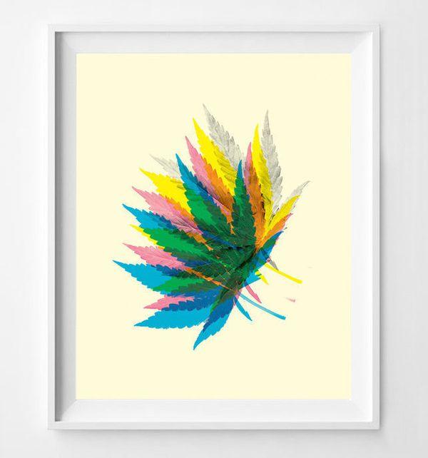 "Pot Leaf Art Print, $12 at <a href=""https://www.etsy.com/listing/233558003/marijuana-weed-art-weed-poster-pot-leaf?ga_order=m"