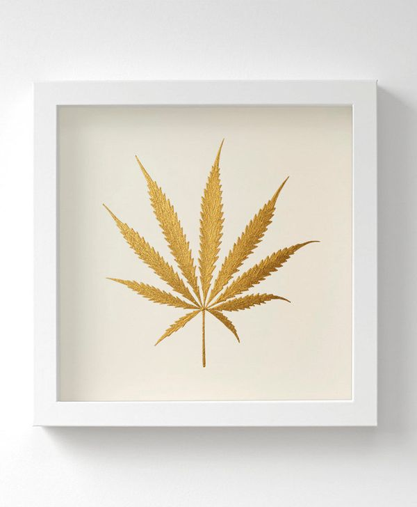 "Metallic Gold Cannabis Leaf Painting, $36.61 at <a href=""https://www.etsy.com/listing/247219769/cannabis-leaf-gold-original-p"