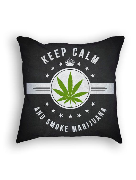 "Keep Calm Throw Pillow, $34.99 at <a href=""https://www.etsy.com/listing/220900984/marijuana-throw-pillow-18x18-cushion?ga_ord"