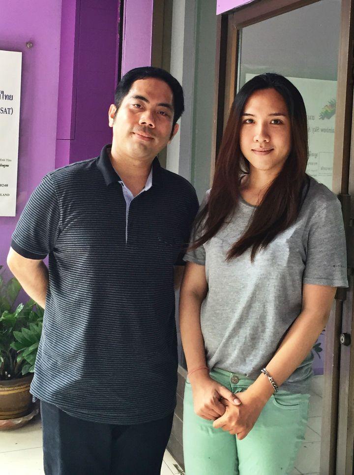 """Rapeepun Ohm Jommaroeng (left) and Wannapong """"œNhuun"""" Yodmuang (right) of the Rainbow Sky Association of Thailand agree that there are limited opportunities for the transgender community in the formal sector."""