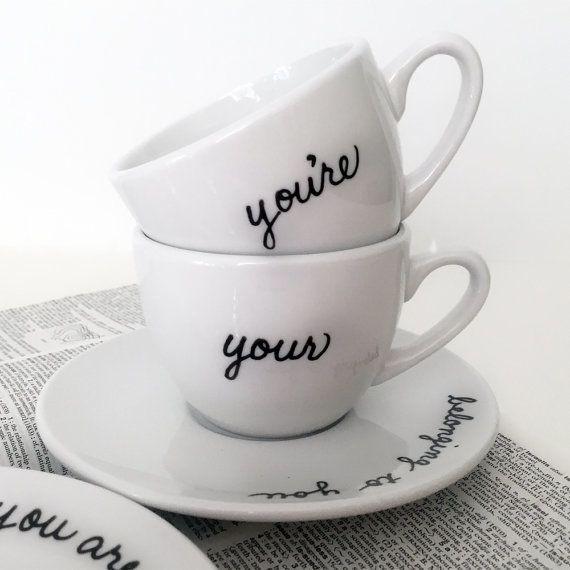 """Grammar teacup and saucer set, $32,<a href=""""https://www.etsy.com/listing/150117826/grammar-teacup-and-saucer-set-of-2?g"""