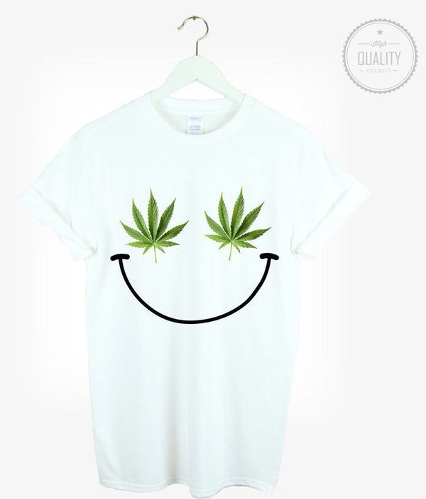 "Weed Smiley Shirt, $10.83 at <a href=""https://www.etsy.com/listing/208780234/weed-smiley-t-shirt-shirt-tee-unisex?ref=market"""