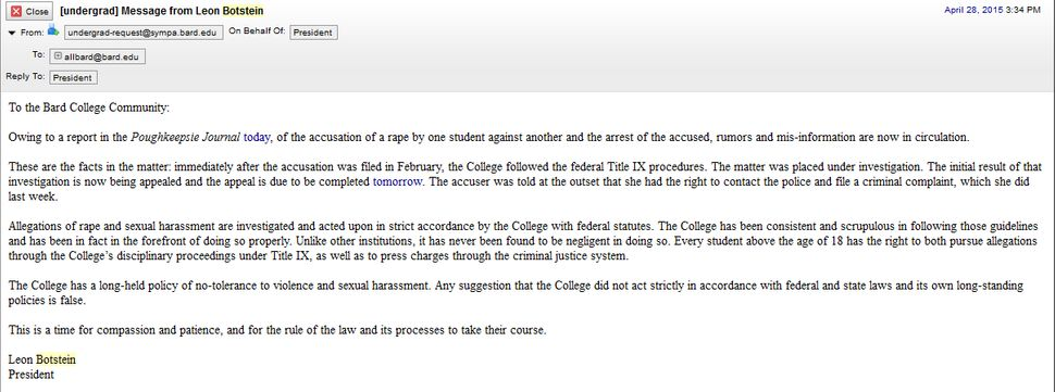 The email sent to the Bard College campus after Sam Ketchum's arrest.