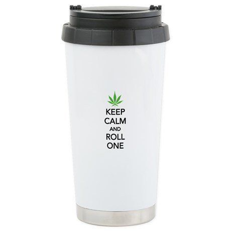 """Roll One Travel Mug, $22.99 at <a href=""""http://www.cafepress.com/+keep_calm_and_roll_one_stainless_steel_travel_mug,573041848"""