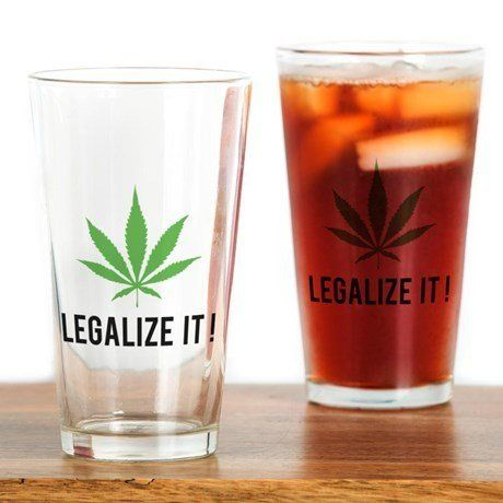 "Legalize It Drinking Glass, $14.99 at <a href=""http://www.cafepress.com/+legalize_it_drinking_glass,573069786?utm_medium=cpc&"