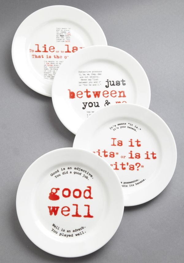 """Gourmet Grammarian plate set, $49.99,<a href=""""http://www.modcloth.com/shop/tabletop/gourmet-grammarian-plate-set"""" targe"""