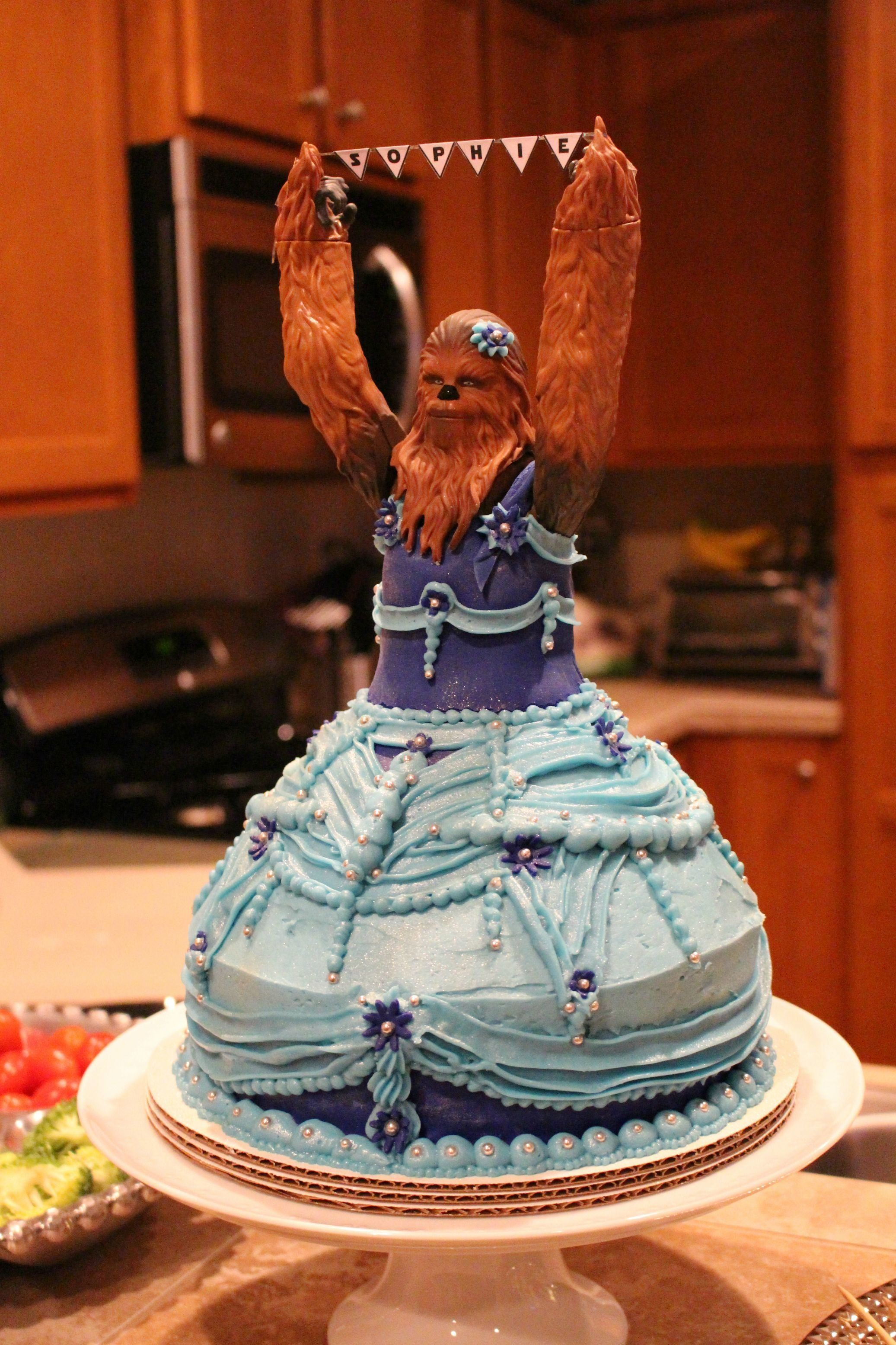 """""""Sophie was elated when the cake arrived. She said, 'Oooh! Chewbacca is so pretty, Mom!' Then she promptly"""