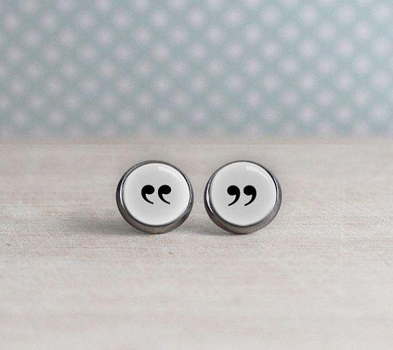 """Quotation mark earrings, $13.95,<a href=""""https://www.etsy.com/listing/207825655/quotation-mark-earrings-white-backgroun"""