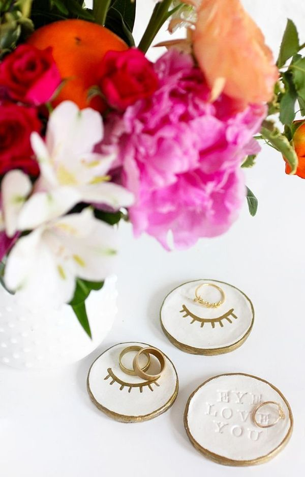 What better way to surprise a friend who's jewelry box is constantly overflowing than a couple of handmade ring dishes? Easy