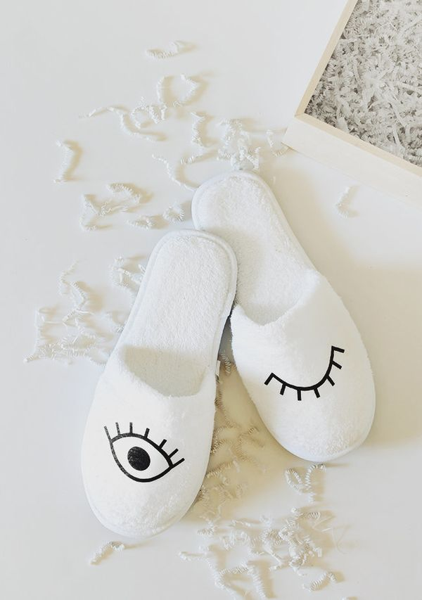 """Get the avid Netflix and chiller the gift of even better relaxation. Theseeye slippers by <a href=""""http://www.almostmak"""