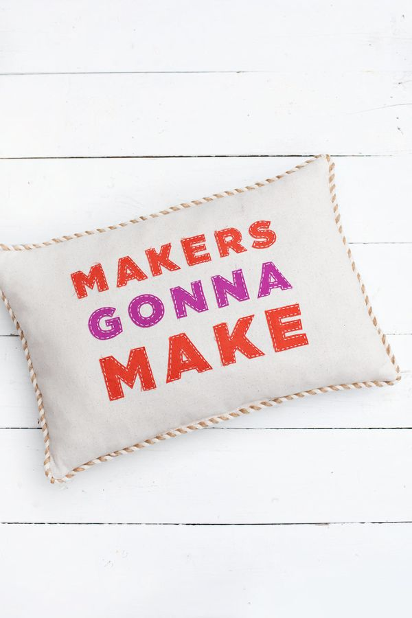 """Any avid crafter would appreciateone of these cute andcleverpillows by <a href=""""http://www.abeautifulmess.c"""