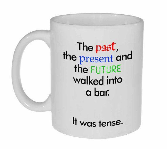 """Grammar coffee mug, $12.50,<a href=""""https://www.etsy.com/listing/165776133/grammar-funny-coffee-or-tea-mug-walked?ref=s"""