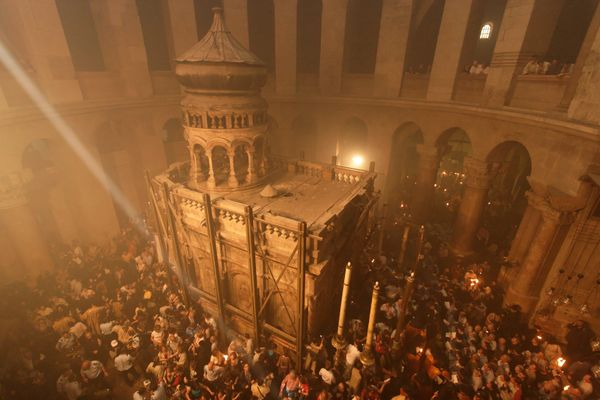 The Ceremony of the Holy Light on Holy Saturday, at the Church of the Holy Sepulchre in Jerusalem.