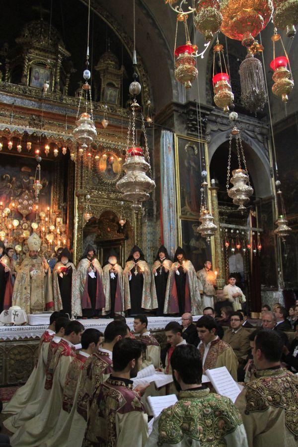 Armenian Orthodox Maundy Thursday ceremony at St. James Cathedral in Jerusalem.