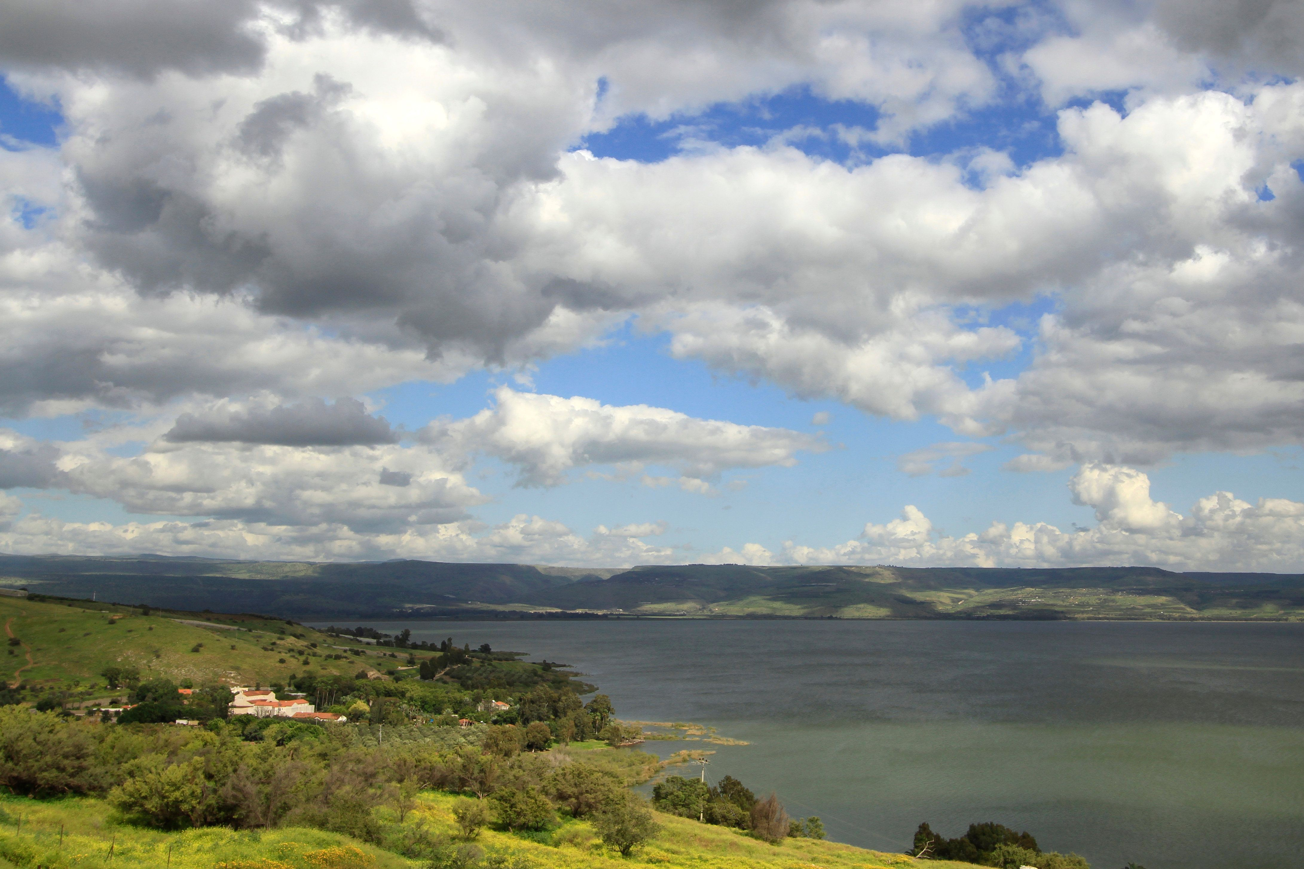 A view of the Church of the Multiplication of the Loaves and Fishes in Tabgha, Israel and the Sea of Galilee.