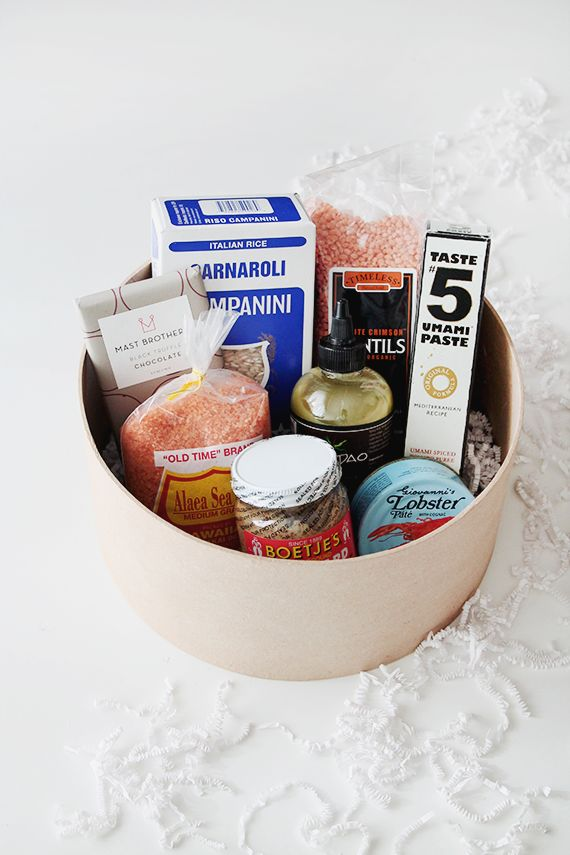 """When in doubt, go with a gift basket. They're nearly fool-proof and are sure to please. This idea by <a href=""""http://www.almo"""