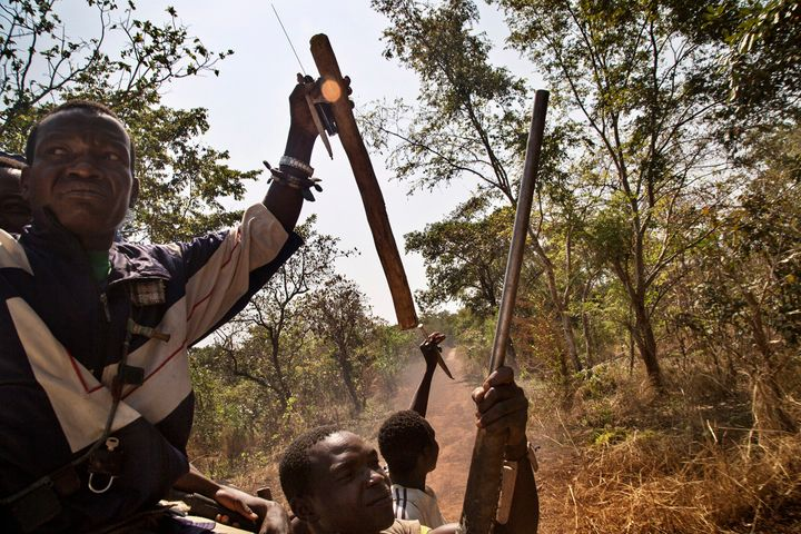 Anti-Balaka on the road out of Bossangoa after attacks on the town.