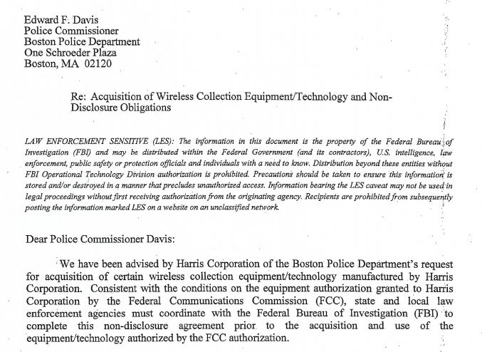 <br> Former BPD Commissioner Ed Davis signed the nondisclosure agreement regarding cell site simulators with the FBI in June