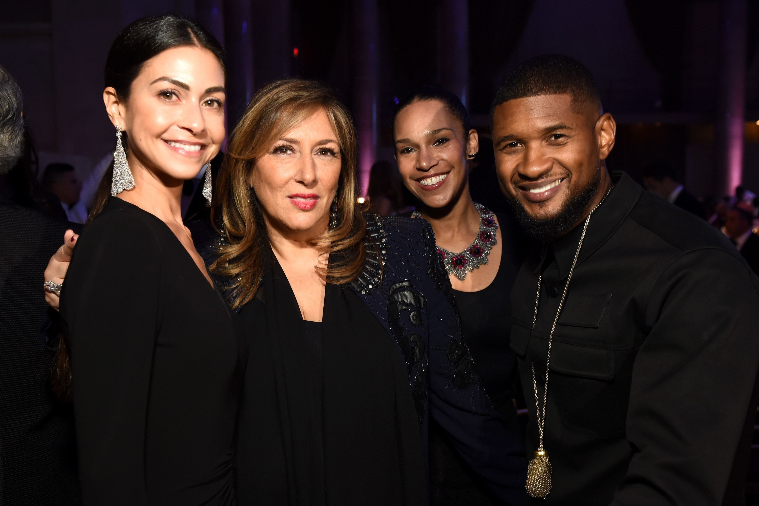 NEW YORK, NY - OCTOBER 19:  A guest, Lorraine Schwartz, Grace Miguel, and Usher attend Angel Ball 2015 hosted by Gabrielle's Angel Foundation at Cipriani Wall Street on October 19, 2015 in New York City.  (Photo by Dimitrios Kambouris/Getty Images for Gabrielle's Angel Foundation)