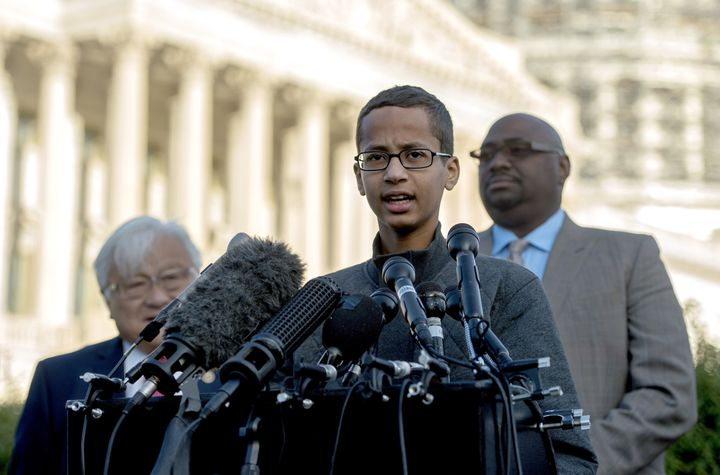 Ahmed Mohamed speaks during a press conference on Capitol Hill on Oct. 20. The teen says his school racially profiled him whe