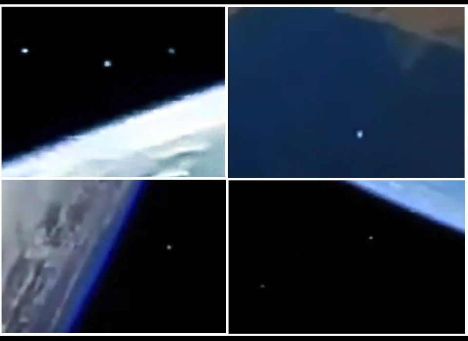 This composite image shows four different times that alleged UFO were photographed above Earth by either space shuttles or th
