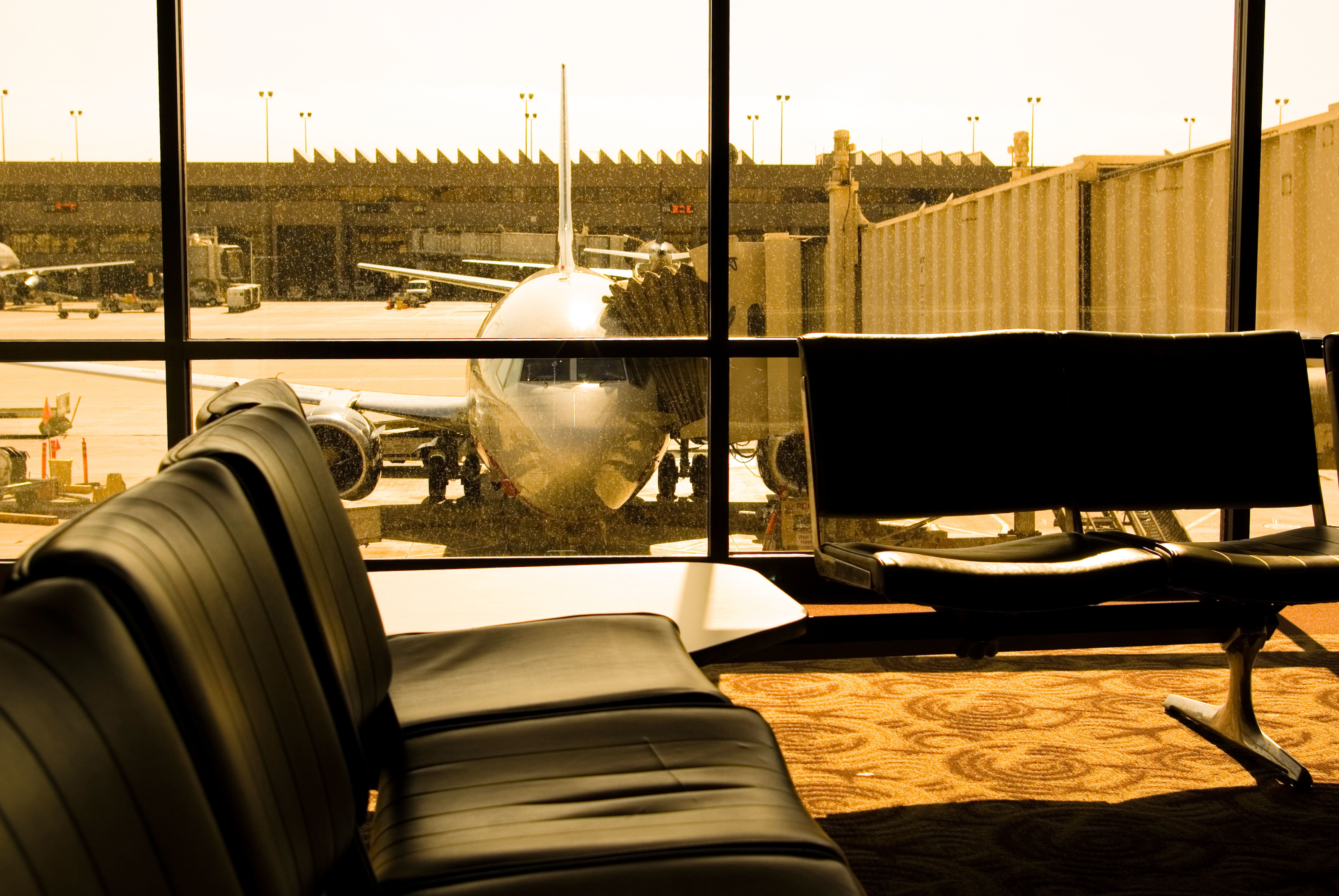 philadelphia airport usa departure gate internal US air travel plane docking seating empty day airplane travel flight aviation