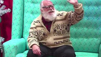 "The ""Hipster Santa"" is working at a mall in Portland, Oregon"
