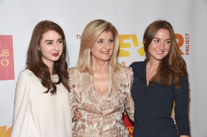 Arianna Huffington with her two daughters, Isabella and Christina, in 2014.