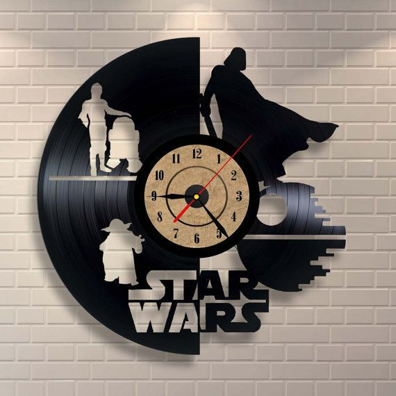 This vinyl wall clock is crafted in Ukraine and spotlights iconic characters and the Death Star II. It's handmade a
