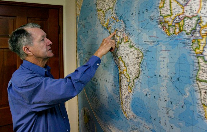 Jack Harbeston, the managing director of the salvage firm Sea Search Armada, shows the general location of the Spanish galleo