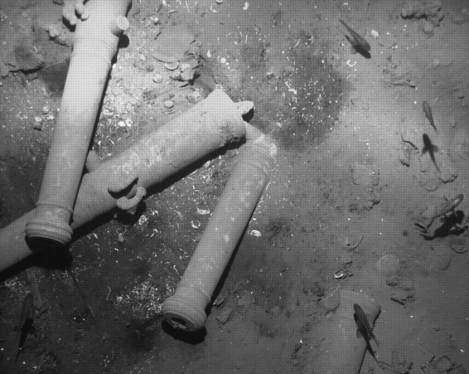 Cannons, believed to belong to the Galleon San Jose Shipwreck, are seen lying on the ocean floor off Colombia's Caribbean coa