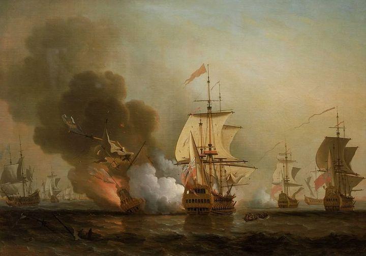 The Spanish galleon's destruction inan18th-century painting by English painter Samuel Scott.