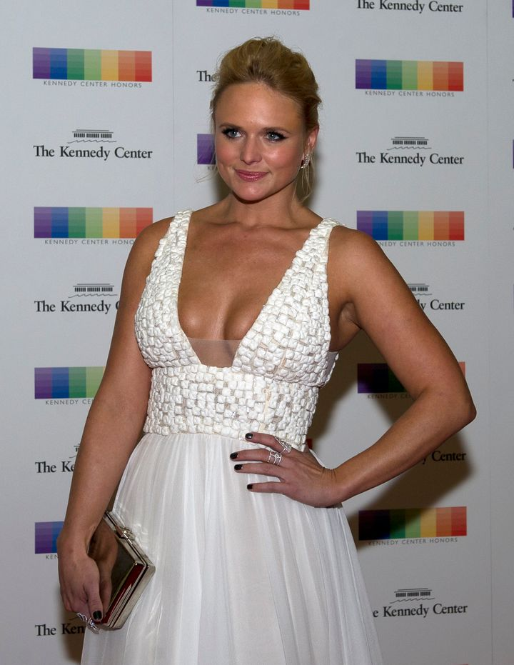 miranda lambert stuns in low cut bridal inspired gown huffpost