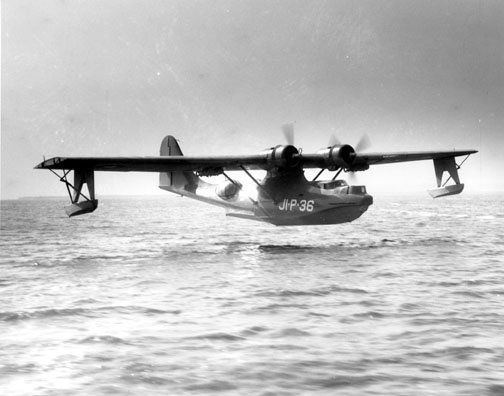 An example of an PBY-5 making a landing. This model is similar to the one discovered by UH's divers at Kaneohe