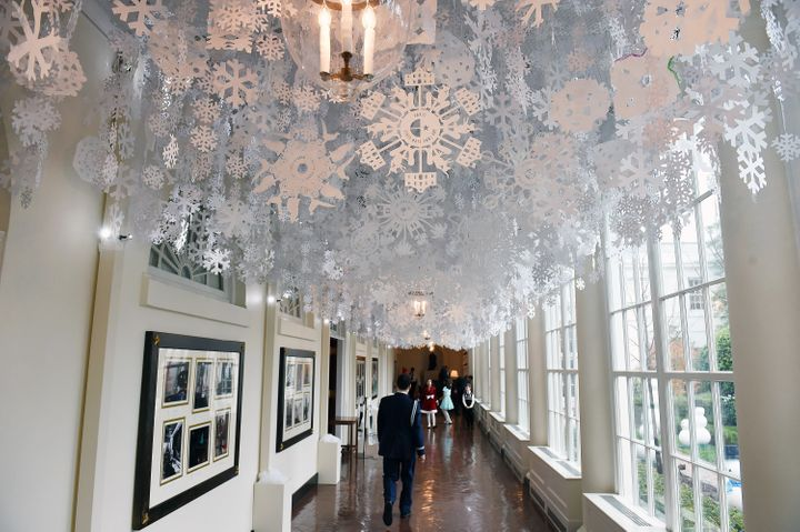 Snowflakes adorn the ceiling in a hallway at the White House onDec. 2, 2015.