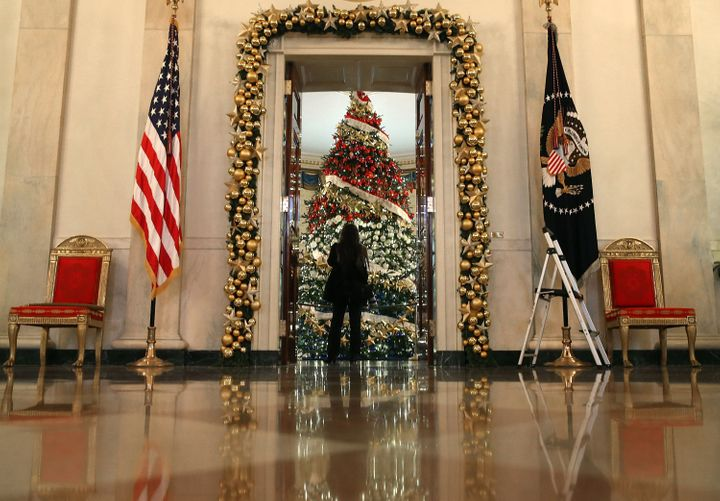 A decorated tree stands in the Blue Room on Dec. 2, 2015.