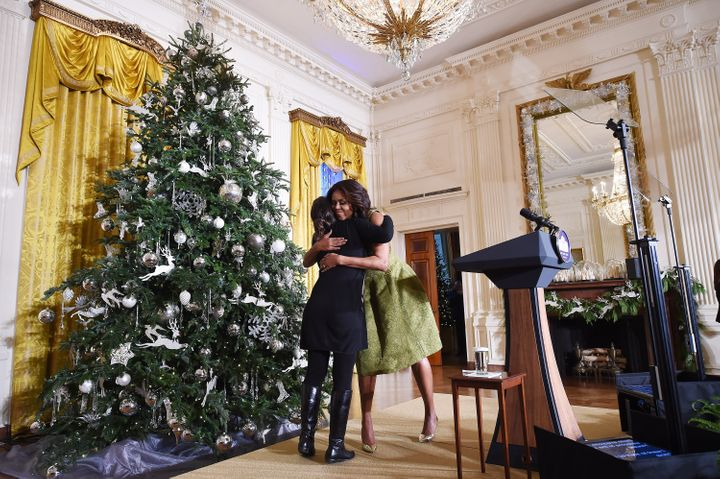 First Lady Michelle Obamaunveiled this year's White House holiday decorations on Dec. 2, 2015.