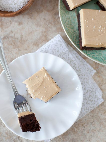 "<strong>Get the <a href=""http://www.annies-eats.com/2013/03/08/chocolate-fudge-brownies-with-whipped-peanut-butter-frosting/"""