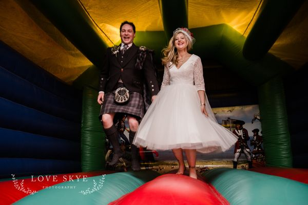 """Paul and Bryony's Isle of Skye wedding was held on a wild and stormy winter's day. Bryony surprised Paul by hiri"
