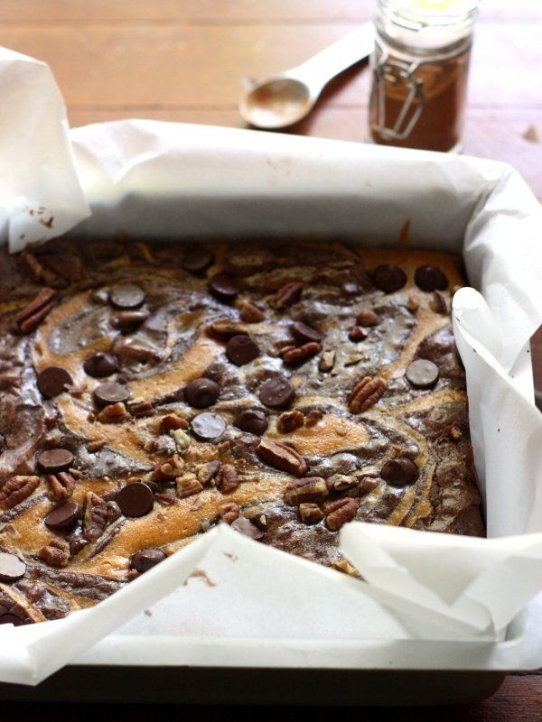 "<strong>Get the <a href=""http://www.completelydelicious.com/2013/10/pumpkin-swirl-brownies-with-pecans.html"">Pumpkin Swirl Br"