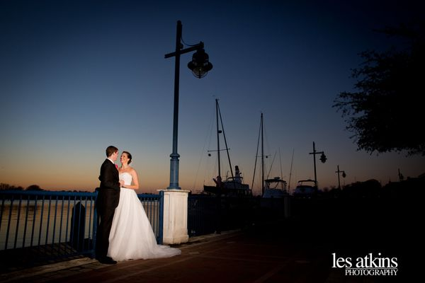 """Beautiful sunset for Emily and Jeremy's winter wedding along the waterfront in historic downtown Little Washington"