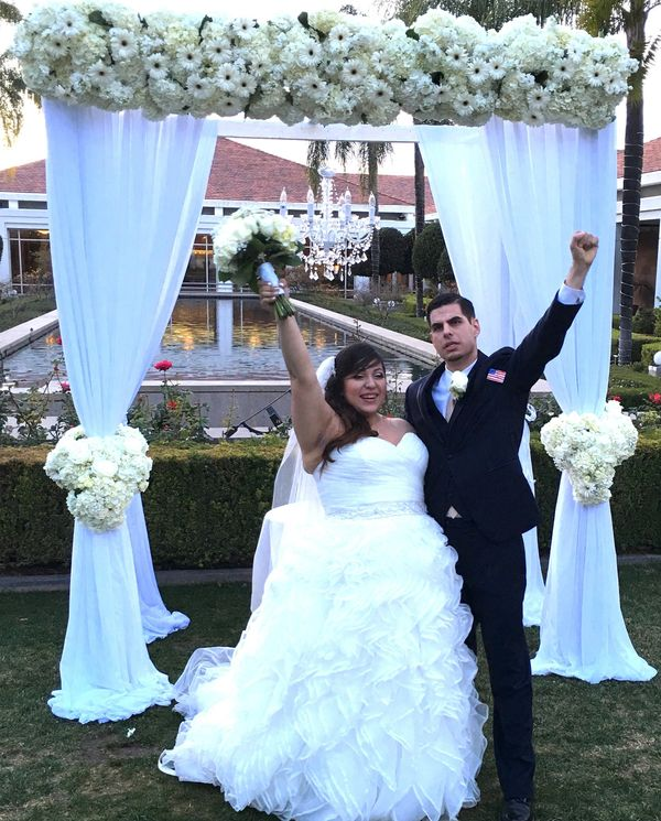 """Michael and Maggie got married at the Nixon Library in Yorba Linda, California."" - Alan Katz"
