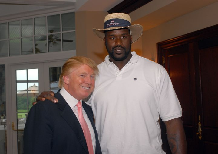 Donald Trump and Shaquille O'Neal at a celebrity golf tournament at the Trump National Golf Club in 2007.
