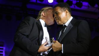 Donald Trump and Muhammad Ali during Muhammad Ali's Celebrity Fight Night XIII - Show at Marriot Desert Ridge Resort & Spa in Phoenix, Arizona, United States. (Photo by John Shearer/WireImage)
