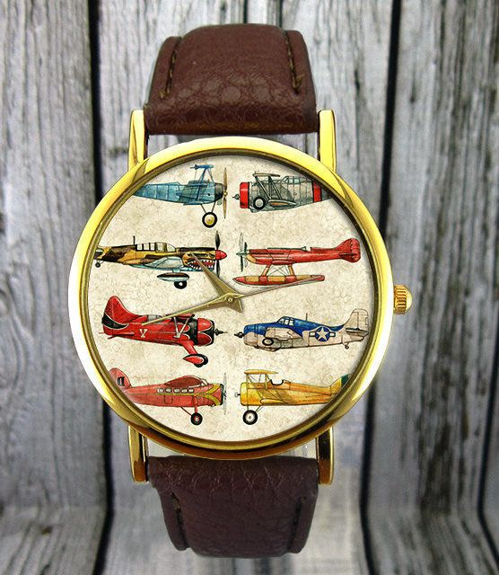 "VintageAirplane Watch, $14.50 at <a href=""https://www.etsy.com/listing/224088357/vintage-airplane-watch-aviation-watch?"