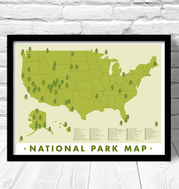 """Hiking Map, $19 at <a href=""""https://www.etsy.com/listing/196613886/national-park-map-print-outdoors-wall?ga_order=most_releva"""